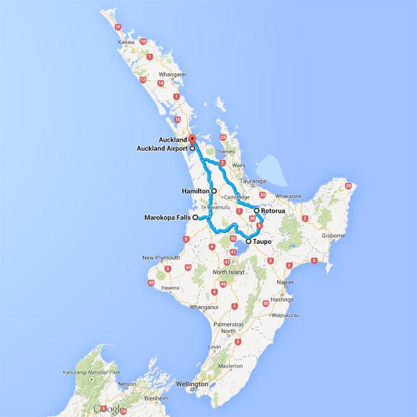 NZ North Road Trip Map